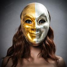 Venetian Volto Joker Full Face Mask - Gold Silver