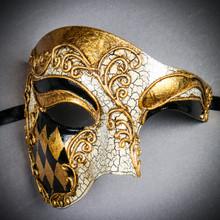 Phantom of the Opera Venetian Mardi Gras Masquerade - White Gold