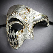 Phantom of the Opera Venetian Mardi Gras Masquerade - White Silver