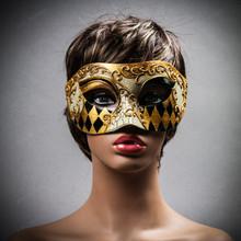 Venetian Mardi Gras Phantom Eye Mask Masquerade - White Gold