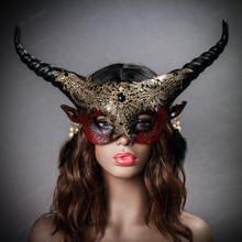 Krampus Horn Devil Women Party Eye Mask - Bloody Red