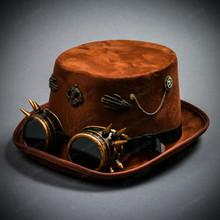 Women Skull Steampunk Top Hat Goggles - Brown