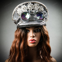 Steampunk Burning Man Captain Hat with Spikes Goggles - Silver Female model