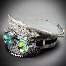 Steampunk Burning Man Captain Hat with Spikes Goggles - Silver