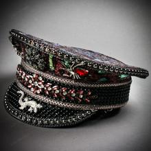 Steampunk Burning Man Captain Hat with Rhinestone Spiker & Gecko - Burgundy Leopard