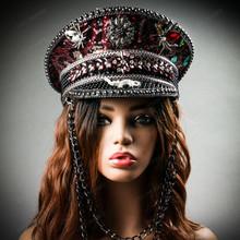 Steampunk Burning Man Captain Hat with Rhinestone Spiker & Gecko - Burgundy Leopard (with female model)