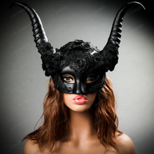 Evil Witch Gothic Horn Lace Women Halloween Party Horned Mask - Black (with model)