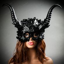 Evil Skull Gothic Horn Hemet Mask Black Halloween Costume Party Mask with model