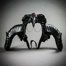 Gothic Demon Large Horn with Raven Skull & Rose Headband - Black