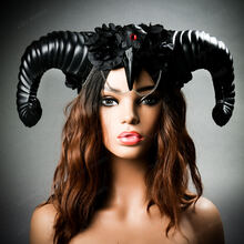 Gothic Demon Large Horn with Raven Skull & Rose Headband - Black (with model)