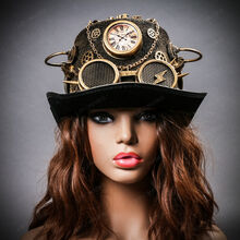 Steampunk Time Traveler Lightning Goggles Top Hat - Antique Gold (with female model)
