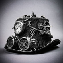 Steampunk Time Traveler Lightning Goggles Top Hat - Antique Silver