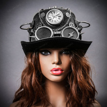 Steampunk Time Traveler Lightning Goggles Top Hat - Antique Silver (with female Model)