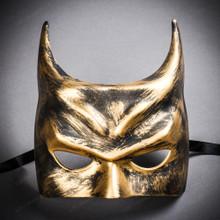 Batman Halloween Masquerade Half Face Mask - Black Gold