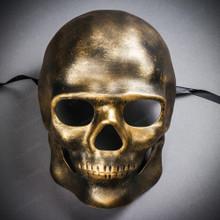 Skull Halloween Masquerade Full Face Mask - Black Gold