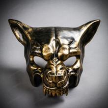Angry Metallic Wolf Masquerade Mask - Black Gold