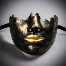 Unpainted Lower Half Face Costume Masks Masquerade - Black Gold