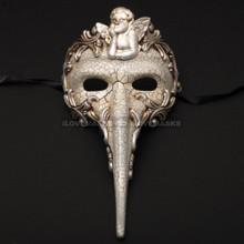Venetian Long Nose Angel Carnivale Men Mask - White Silver - 4