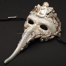 Venetian Long Nose Angel Carnivale Men Mask - White Silver