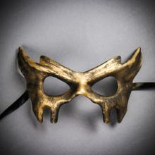 Devil Halloween Masquerade Eye Mask - Black Gold