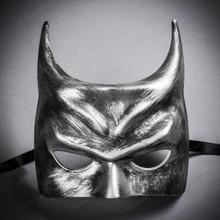 Batman Halloween Masquerade Half Face Mask - Black Silver