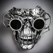 Steampunk Skull Masquerade Full Face Mask with Goggles - Black Silver