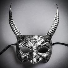 Goblin Devil Long Horn Eyes Mask - Black Silver