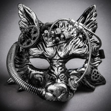 Wild Wolf Animal Steampunk Full Face Masquerade Mask - Black Silver