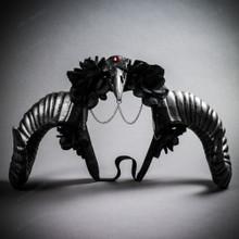 Gothic Demon Raven Skull Large Horn & Rose Headband - Black Silver