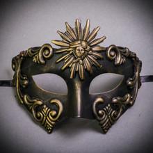 Warrior Roman Greek Sun Venetian Masquerade Mask - Gold Black
