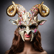 Krampus Ram Demon with Horns Venetian Devil Halloween Mask - Gold