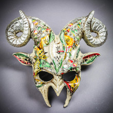 Krampus Ram Demon with Horns Venetian Devil Halloween Mask - White Silver