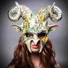 Krampus Ram Demon with Horns Venetian Devil Halloween Mask - Silver