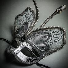 Butterfly Glitter Mardi Gras Party Mask - Black Silver