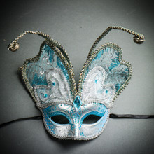 Butterfly Glitter Mardi Gras Party Mask - Blue Silver