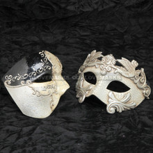 Black Phantom of Opera Musical and Silver Roman Warrior Metallic Mask Combo