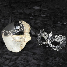 Black Phantom of Opera Musical and Silver Charming Princess Masquerade Mask