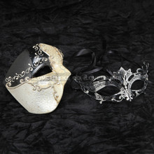 Black Phantom of Opera Musical and Black Silver Charming Princess Diamond Mask