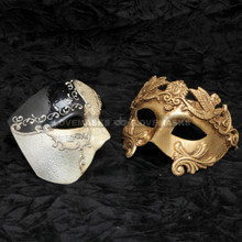Black Phantom of Opera Musical and Gold Greek Warrior Masquerade Mask Combo
