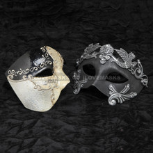 Black Phantom of Opera Musical and Black Silver Roman Emperor Pegasus Mask Combo