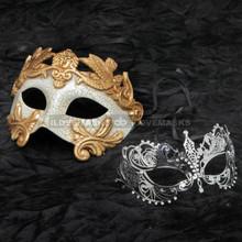 Gold Roman Warrior Masquerade Mask and Silver Charming Princess Rhinestone Combo