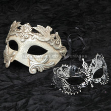 Silver Roman Warrior Masquerade Mask and Silver Charming Princess Diamond Combo
