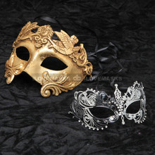 Gold Roman Emperor Masquerade Mask and Silver Charming Princess Diamond Combo