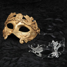 Gold Roman Emperor Metallic Mask & Black Charming Princess Diamond Mask Combo