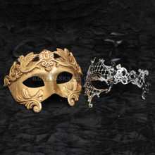 Gold Roman Emperor Metallic Mask & Silver Venetian Phantom Diamond Mask Combo