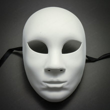 Plain White Blank Decorating Craft Full Face Masquerade Mask Custome Party