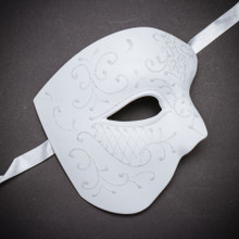 White Half Face One Eye Phantom of Opera Glitter Mask
