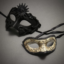 Black Roman Greek Emperor Masquerade Mask & Silver Medieval Venetian Masquerade Mask 'Phantom of Opera' Design - Couple