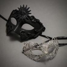 Black Roman Greek Emperor Masquerade Mask & Silver Charming Princess Diamond - Couple
