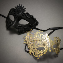 Black Roman Greek Emperor Masquerade Mask & Gold Venetian Swan Party Masquerade Mask with Rhinestones and Bling - Couple